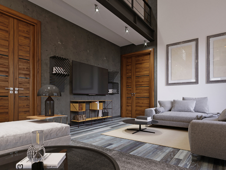 Chic modern living room with a TV and a soft sofa in a modern style. 3d rendering