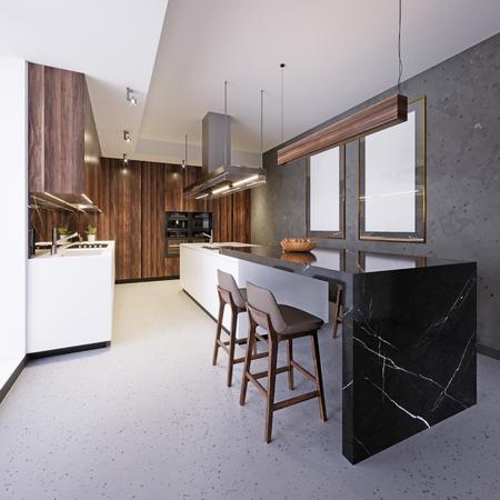 Mobili da cucina bianchi con isola cucina e bar all'interno del sottotetto. Rendering 3D Archivio Fotografico