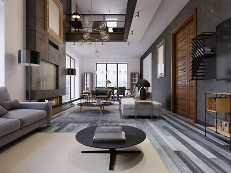 El diseño del living es muy amplio con grandes ventanales, paredes grises y blancas, parquet y muebles grises y un segundo nivel. Puerta de madera en una pared gris. Grandes cuadros en la pared. Representación 3D.