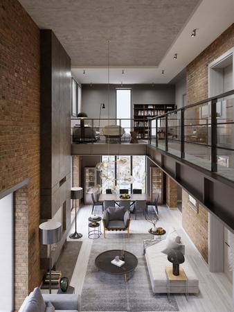 Interni moderni loft progettati come un appartamento moderno a pianta aperta. Open space con cucina, sala da pranzo, soggiorno, ringhiera in vetro, al piano rialzato. rendering 3d