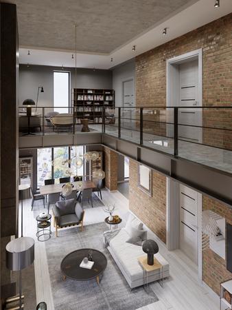 Interni moderni loft progettati come un appartamento moderno a pianta aperta. Open space con cucina, sala da pranzo, soggiorno, ringhiera in vetro, al piano rialzato. rendering 3d Archivio Fotografico