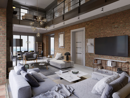 Loft apartment with brick wall öith modern furniture. 3d rendering Banco de Imagens - 113849280