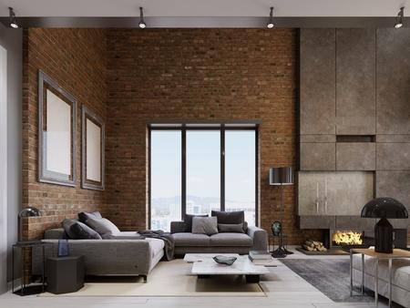 Loft apartment with brick wall öith modern furniture. 3d rendering