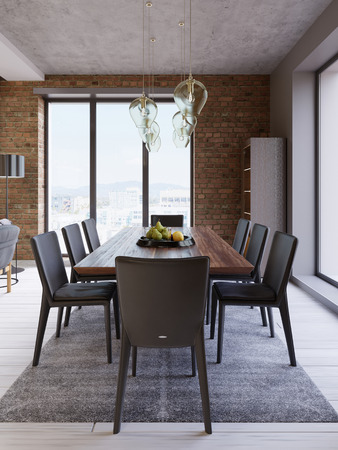 Cozy loft with dining table, chairs and storage racks. 3d rendering Reklamní fotografie