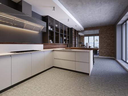 Stylish kitchen interior with modern cabinets in new home. design in scandinavian style. cooking food. wooden worktop, sink and stove. 3d rendering Foto de archivo