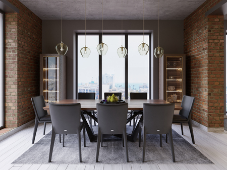 Cozy loft with dining table, chairs and storage racks. 3d rendering 스톡 콘텐츠