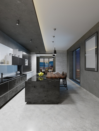 modern kitchen design with a long center island and bar table fitted with a black marble countertop, stainless steel equipment. 3D Rendering