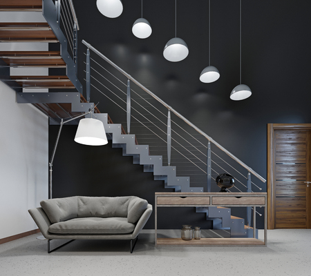 Comfortable modern sofa in the lobby near the stairs to the second floor. 3d rendering.