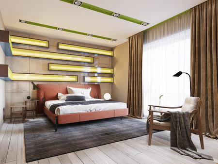 Modern multi-colored bedroom with shelves on the wall with green lighting under the frosted glass, leather bed in red with bedside tables. 3d rendering Stockfoto