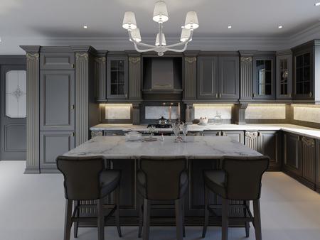 Hermosa cocina en casa de lujo con isla, luces colgantes, alacenas y pisos autonivelantes. salpicadero de mármol, características elegantes. Representación 3d