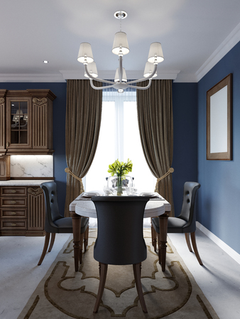 Decoration and furniture of classical dining room with table. 3d rendering