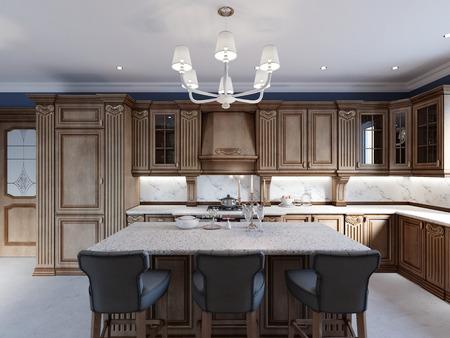 Dettagli isola cucina in ciliegio e sedie da bar. rendering 3d
