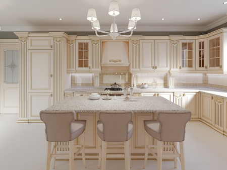 Kitchen island in a luxurious classic style kitchen. 3d rendering Imagens