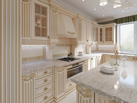 Classical wooden kitchen with wooden details, beige luxury interior design, 3d rendering