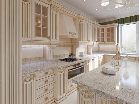 Classical wooden kitchen with wooden details, beige luxury interior design, 3d rendering