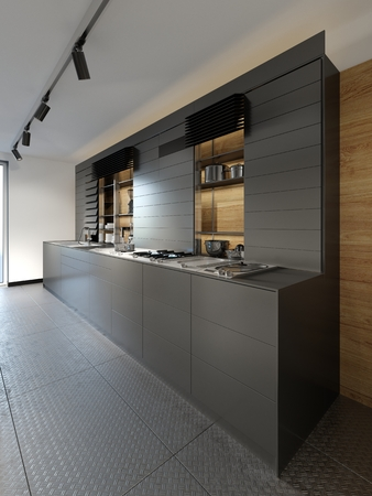 Stylish dark wooden kitchen studio interior in loft style. 3D Rendering 版權商用圖片