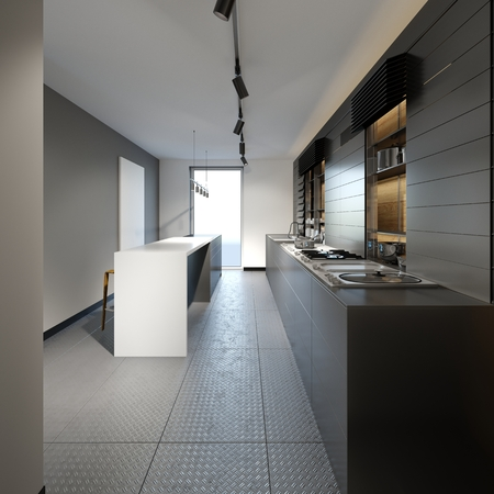 beautiful kitchen with dark furniture of an new loft. 3d rendering. Archivio Fotografico