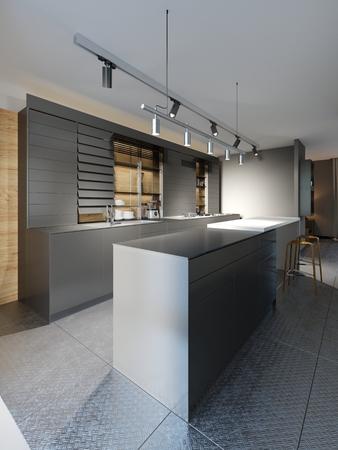 Cucina nera con sedie in cucina fredda in stile loft. rendering 3d