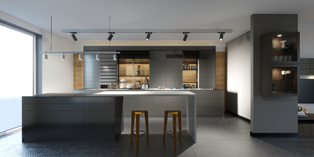 beautiful kitchen with dark furniture of an new loft. 3d rendering. Stok Fotoğraf