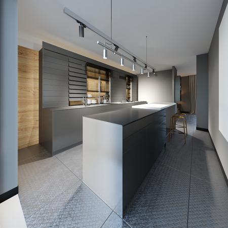 Modern designer kitchen in dark colors in a loft style. 3d rendering
