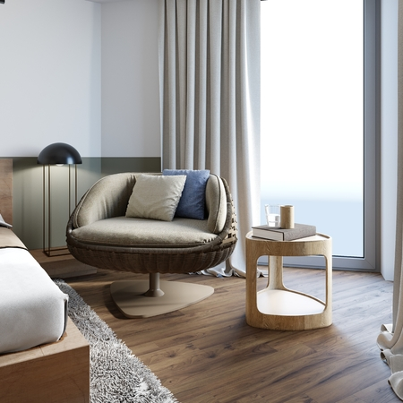 Neutral interior loft with wicker chair and designer wooden side table with decor with with a bedroom on the background. 3D rendering.