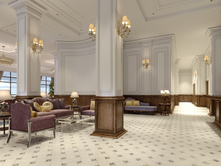 Hotel lobby in classic style with luxurious art deco furniture and mosaic tile hall. 3d rendering Imagens