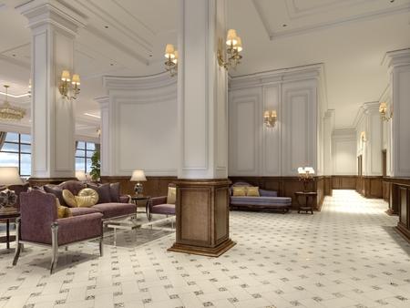 Hotellobby im klassischen Stil mit luxuriösen Art-Deco-Möbeln und Mosaikfliesenhalle. 3D-Rendering Standard-Bild