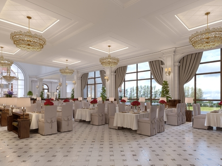 Beautiful interior of the restaurant in a modern hotel with white cloth tables and soft chairs, serving tables with live roses. 3d rendering