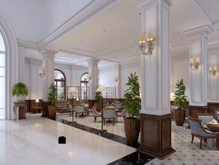 Lobby d'hôtel de style classique avec des meubles art déco luxueux et un hall en mosaïque. rendu 3D