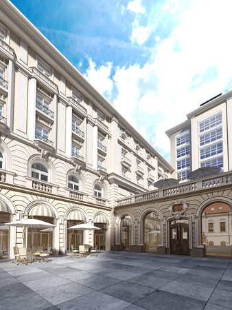 The architecture of the courtyard is classic style, the facade of the building is in the classical style. 3d rendering 版權商用圖片