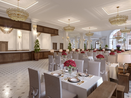 Modern restaurant interior, part of a hotel. 3d rendering