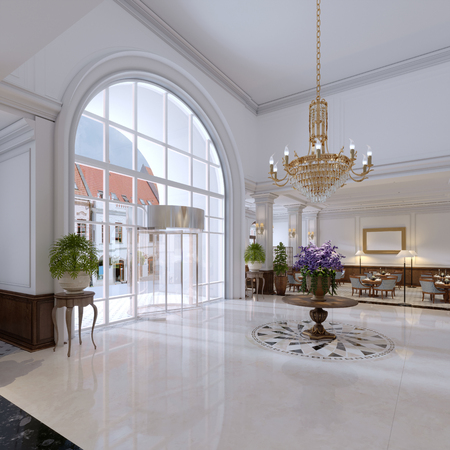 luxury entrance in classic hotel with a large bouquet of flowers and a large golden chandelier. 3d rendering Archivio Fotografico