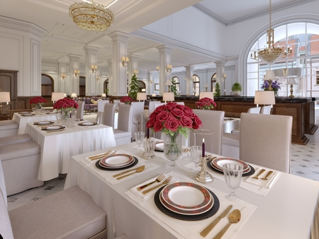 Beautiful interior of the restaurant in a modern hotel with white cloth tables and soft chairs, serving tables with live roses. 3d rendering Banco de Imagens