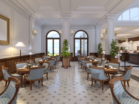 Luxurious bar with tables and chairs in the classic interior of a five star hotel. 3d rendering.