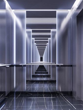 Diseño futurista de cabina de ascensor con espejos con iluminación de neón y paneles metálicos. Diseño de ascensor moderno. Reflexión hasta el infinito. Representación 3d