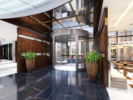 Modernes Interieur des gemütlichen Barrestaurants. Zeitgenössisches Design im trendigen Stil, moderner Essplatz und Bartheke. 3D-Rendering Standard-Bild