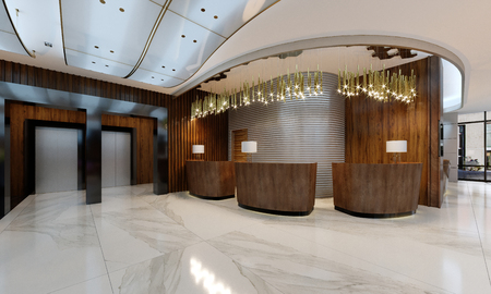 Reception area in a modern hotel with wooden reception counters and large pendant gilded chandeliers. 3d rendering.