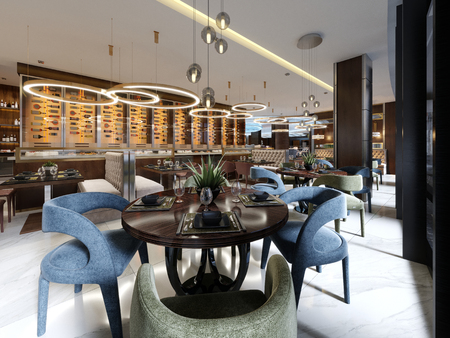 Luxury restaurant in contemporary style with exquisite modern furniture and designer listroy with hidden lighting. Brand interior design of the restaurant. 3d rendering.