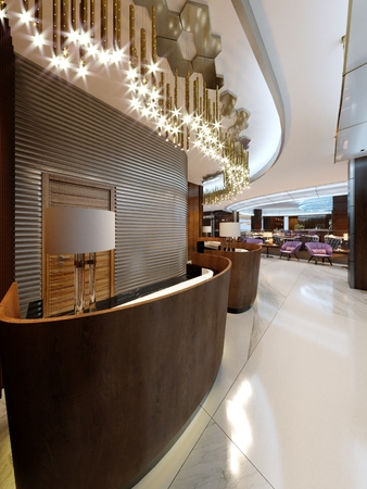 Reception area in a modern hotel with wooden reception counters and large pendant gilded chandeliers. 3d rendering. Фото со стока
