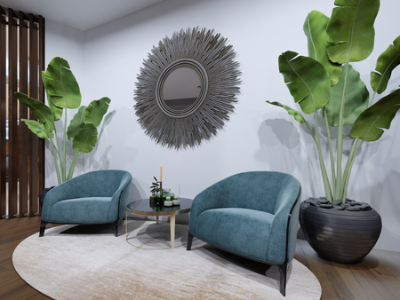 The hotel's rest area features two designer armchairs in blue with a potted plant and a zeokal on a white wall. 3d rendering