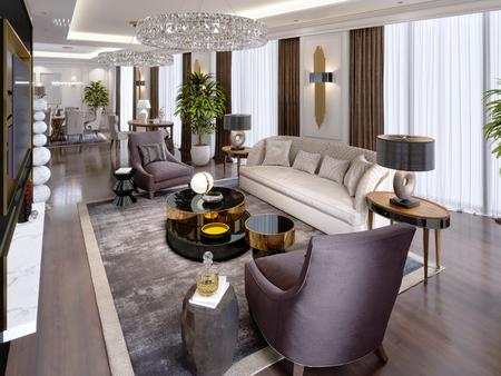 Luxusappartements im Hotel mit Wohn- und Esszimmer, Sofa, Bett, TV-Ständer, Esstisch, klassisches Interieur mit weißen Wänden. 3D-Rendering Standard-Bild