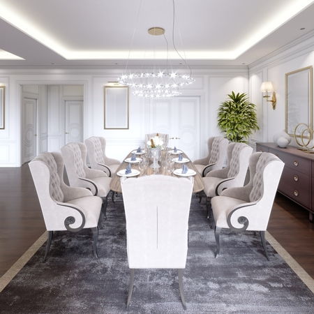 Luxurious dining room with a large table and soft chairs in a classic apartment. 3D rendering.