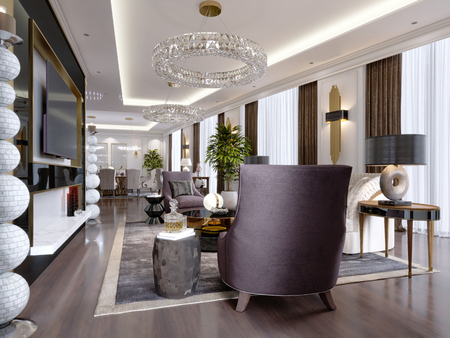 A modern, classic-style hotel room with a lounge and dining area and designer furniture. 3d rendering Stock fotó