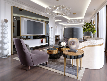 A modern, classic-style hotel room with a lounge and dining area and designer furniture. 3d rendering
