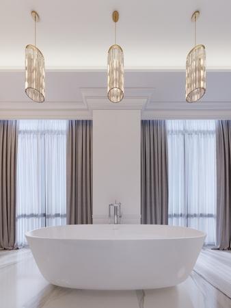 Modern bathroom with a window, hanging chandelier, curtains, bathroom. 3d rendering.