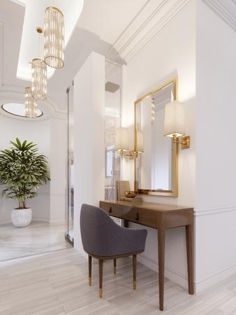 Tavolo da lavoro e toeletta di design in legno con uno specchio in una cornice dorata e applique luminose sulla parete della suite. rendering 3D. Archivio Fotografico