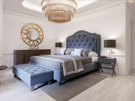 Modern bed in classic blue style with bedside table and lamp. Large glass chandelier over. A dresser with a decor and a golden mirror above. Modern bedroom. 3d rendering.