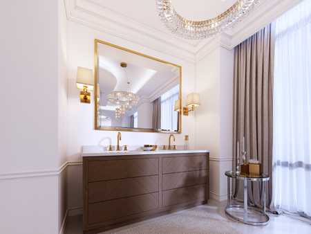 Modern wooden vanity with a mirror in a gold frame and sconces on the wall, a low table with decor and a rug with a chandelier. 3d rendering. Reklamní fotografie