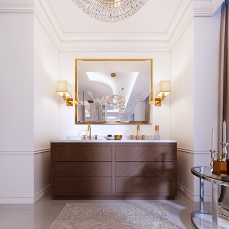 Modern wooden vanity with a mirror in a gold frame and sconces on the wall, a low table with decor and a rug with a chandelier. 3d rendering. Stock Photo