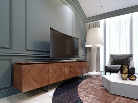 Modern TV on a wooden cabinet in the living room. 3d rendering Reklamní fotografie